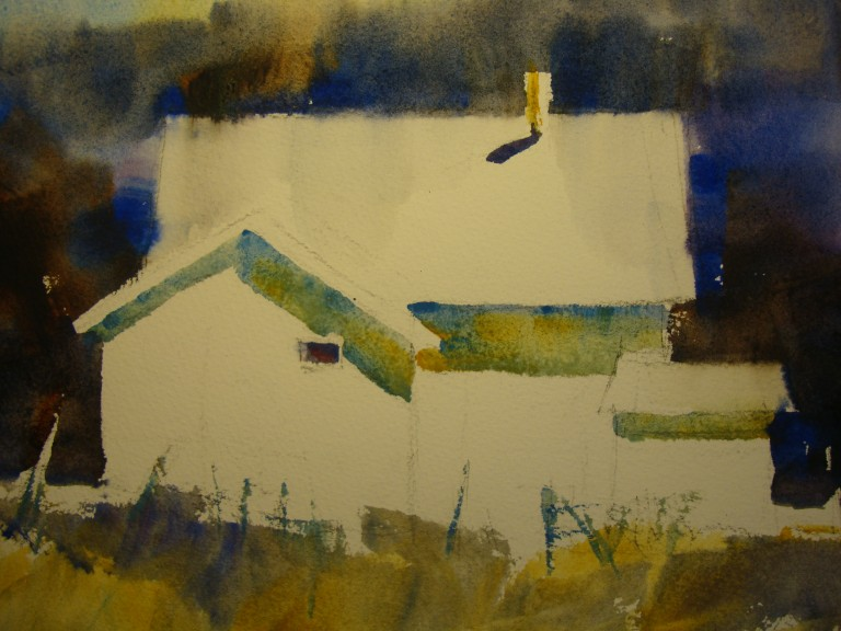 Kathy Collins, House at Samish, watercolor on board, 10x10, 2015